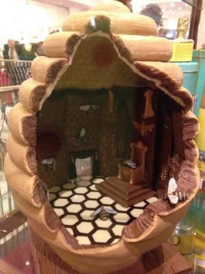 Chocolate hive on display in Fortums
